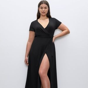 BABATON SLIP WRAP DRESS